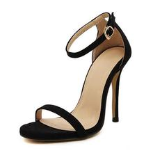 BaiBeiQi Summer Style Women Sandals High Heels Shoes Ladies Sexy Open toe Ankle buckle Stiletto Heels OL work shoes Plus size