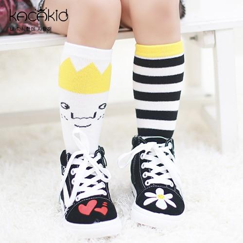 0-4T Kids Socks Cartoon Crown Stripes Asymmetric Sport Cotton Socks Baby Infant Knee Sock Boys Girls Children Clothes Accessory one set vertical stripes socks