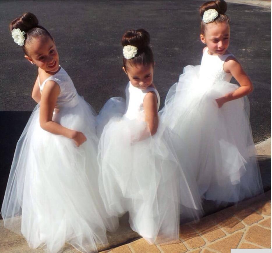 Vestido de Daminha Pretty White Tulle Open Back Cheap Price   Flower     Girl     Dresses   2016 Hot Sale Floor Length Wedding Party Gown