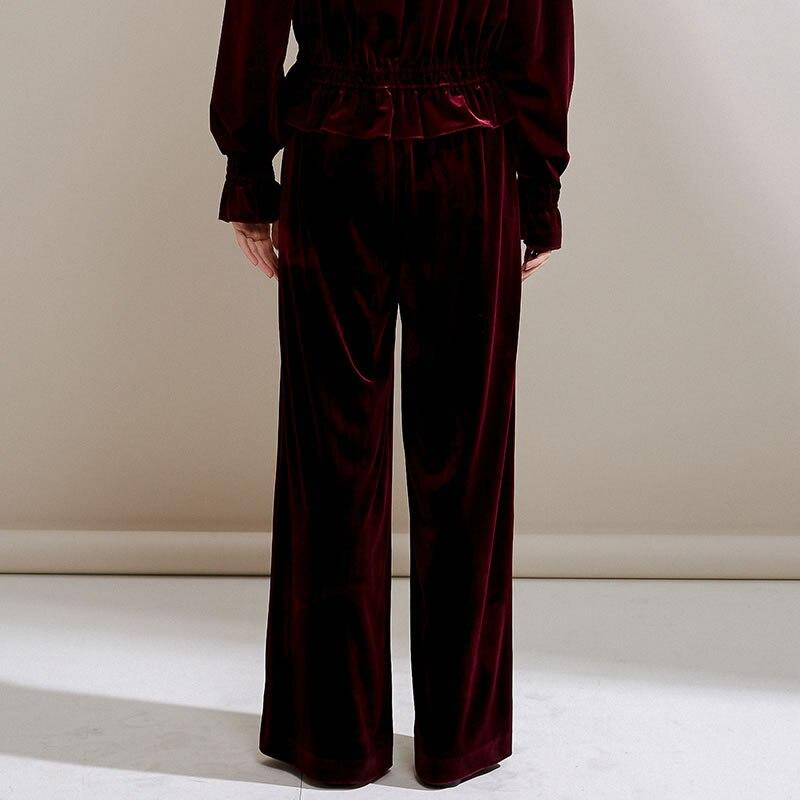 Casuales Verano Red Ancha Dll2987 Nueva 2019 Llegada Pierna Pantalones Corea Moda Primavera Mujeres Elástica De Wine Color xitao Sólido Cintura Mujer fqBgRYnx