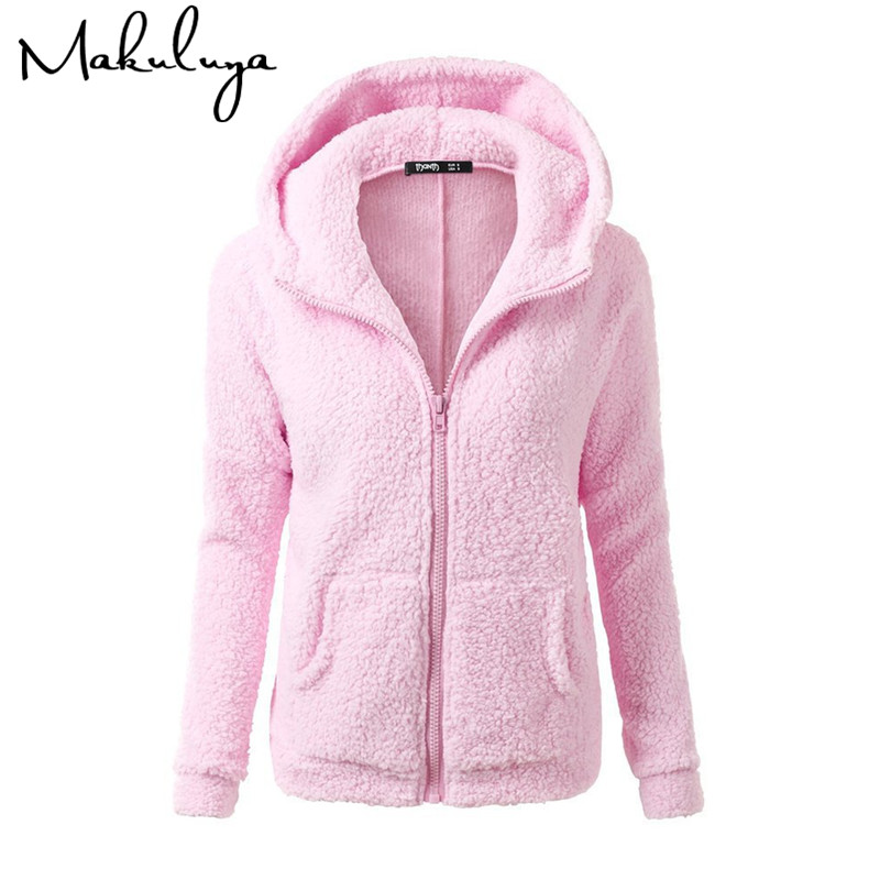 Makuluya Autumn Winter Updated Fleece Women Hoodies With Hat Warm Long Sleeve Zipper Coats Grace Turn-down Casual Sweatshirts QW
