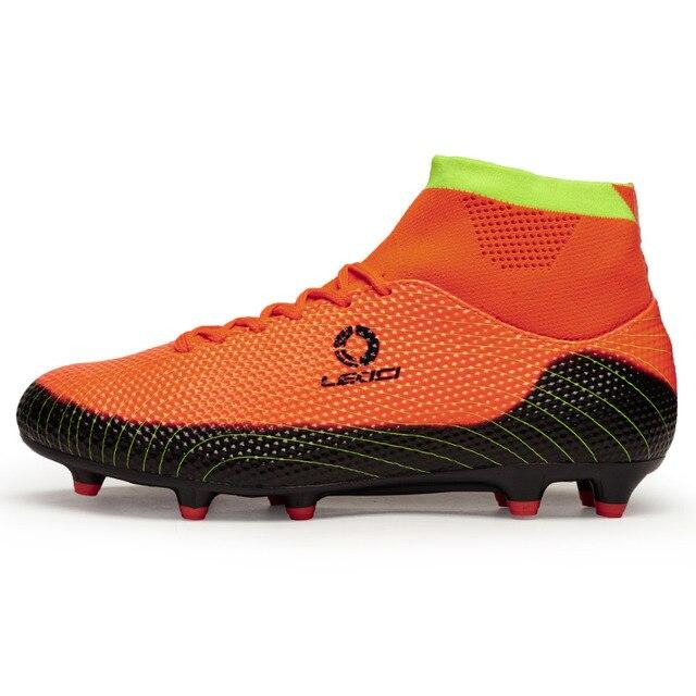 fd6c7b2e27ec Mens Leoci Soccer Shoes Fg Football Boots Bright Mango Metallic Silver  Hyper Turquoise High Ankle Diamonds Cleats Soccer Shoe