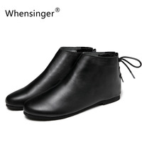Whensinger 2016 Winter Genuine Leather Boots Women Winter Shoes Warm Short Plush Round Toe Lace Up