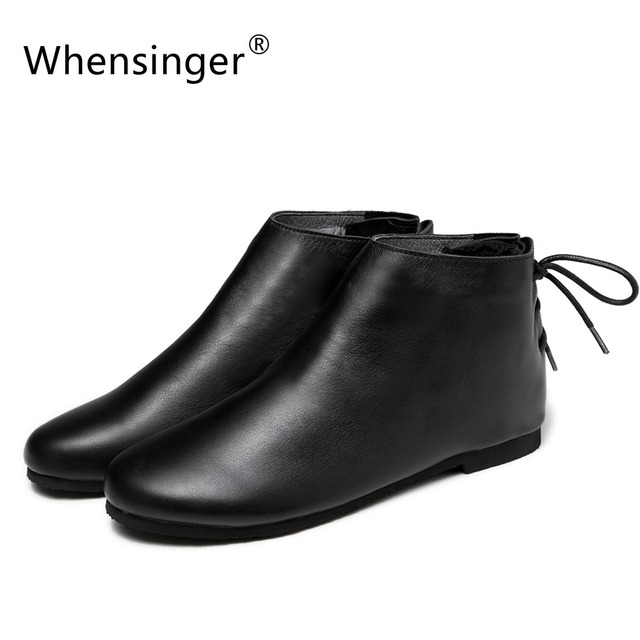 Whensinger - 2018 Winter Genuine Leather Boots Women Winter Shoes Warm Short Plush Round Toe Lace-Up Design F040