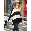 2016 Spring New European And American Women's Fashion Round Neck Bat Sleeve Striped T-shirt Women Stitching Long-Sleeved  D957