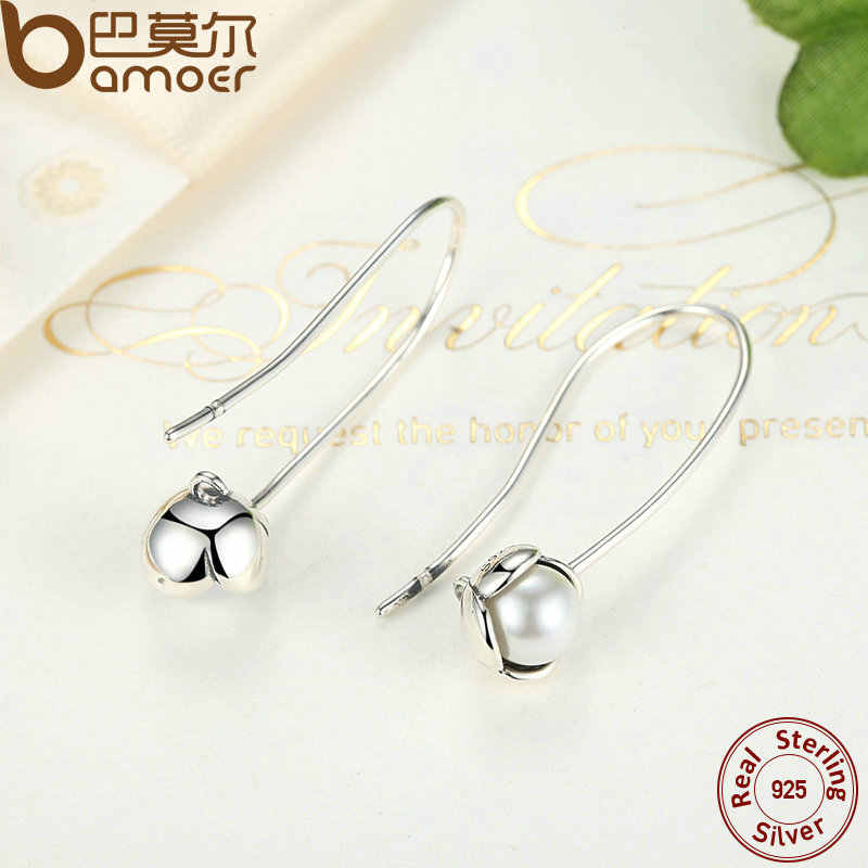 BAMOER New arrival Summer Collection 925 Sterling Silver with Pearl for Women High Quality Drop Earrings Jewelry PAS469