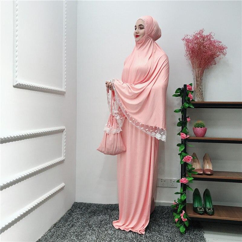 Musulman noir visage couverture Ramadan militaire Bonnet islamique Khimar longue boucle écharpe Jilbab prière vêtements foulard Abaya Ramadan - 3