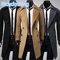 Hombres gabardina 2015 nueva Corea hombres de invierno de lana escudo blended cuello diseño largo de color caqui outwear abrigo manteau homm DFBTC001