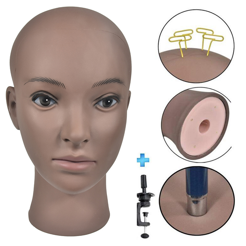 Afro Hairdressing Bald Training Head Cosmetology Mannequin Head For Wigs Making And Display With Free Clamp