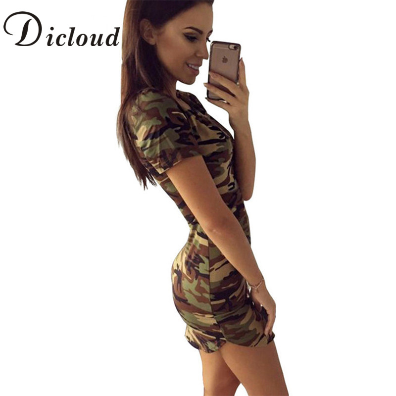 DICLOUD 2018 Moda Donna Summer Dress Manica Corta Mini Abiti Sexy Verde Camouflage Stampa Midi Dress Donna Abiti S-XL