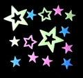 Fashion color PVC plastic empty stars luminous fluorescent plate stereo gifts for children