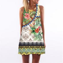 2018 New Fashion Women Summer Dress Printed Beach Dress Bohemian Mini Dress WS6417V