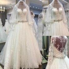 Vestido De Noiva 2019 New Tulle A-Line Long Sleeves Elegant Lace Wedding Dresses Bridal Gown Sheer Back Buttons robe de mariee