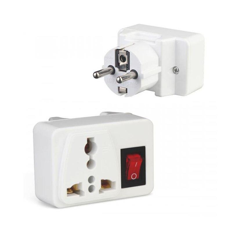 2PCS EU/UK Plug Travel Socket Universal Electric Plug With On/Off Switch International Travel Charger Power Socket Adapter