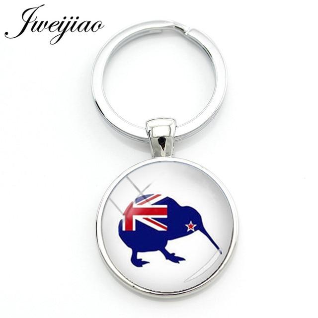 JWEIJIAO Bonito Aves Kiwi Nova Zelândia Perfil Silhueta Keychain Animal Elefante, Olhos, Dragão Arte Padrão Personalizado Keyholder KC468