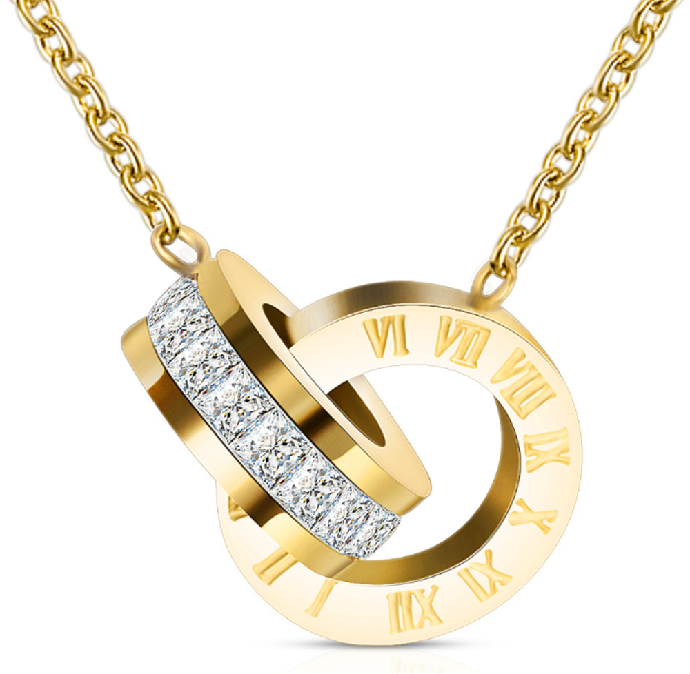 Luxury Gold Roman Numeral Necklace Earring Set For Women Wedding Party Silver 316L Stainless Steel Jewelry Set Gift Box