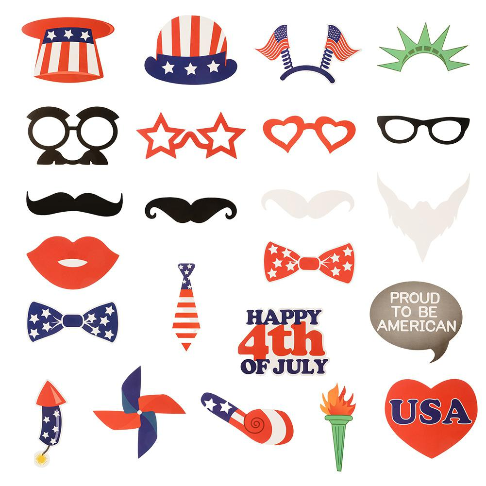 24PCS DIY American 4th Of July Photo Booth Props Independence Day Party Decorations
