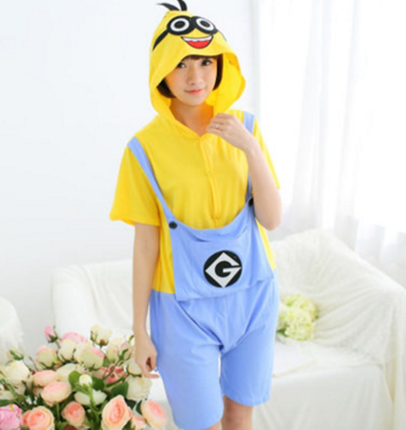 Spring and summer cartoon animal conjoined pajamas short sleeves men and women suit cotton cute couple little yellow people home
