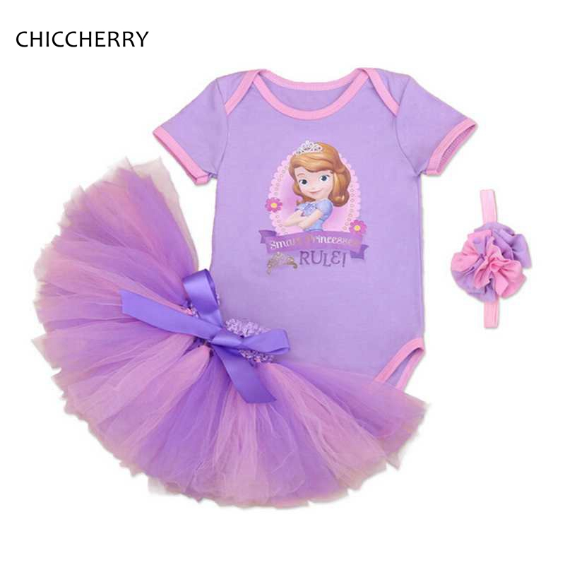 Summer Princess Girl Clothes Sofia Baby Bodysuit + Headband Party Lace Skirt Set Disfraz Princesa Toddler Birthday Tutu Outfits crown princess 1 year girl birthday dress headband infant lace tutu set toddler party outfits vestido cotton baby girl clothes