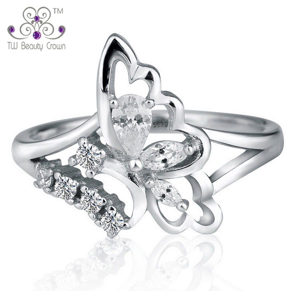 1 Pc High Quality 925 Sterling Silver White Cubic Zirconia Butterfly Wedding & Engagement Rings for Women Female Fashion Jewelry mariposa en plata anillo