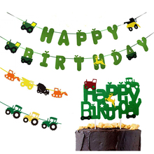 Omilut Farm Theme Construction Banner Happy Birthday Tractor Cup Cake Topper Vehicle Party Decor