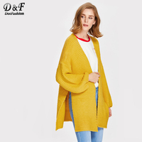 Dotfashion Drop Shoulder Lantern Sleeve Slit Textured Cardigan 2017 Woman Loose Tops Autumn Yellow Long Sleeve Sweater