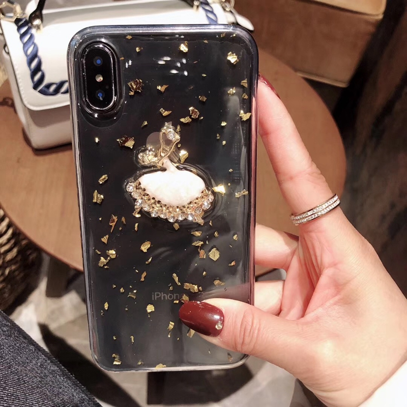 Tfshining Gold Foil Glitter Bling Case for iPhone X XS MAX 8 7 6 6S Plus Ballet Girl Silicone Clear Case TPU Back Shell Cover (8)