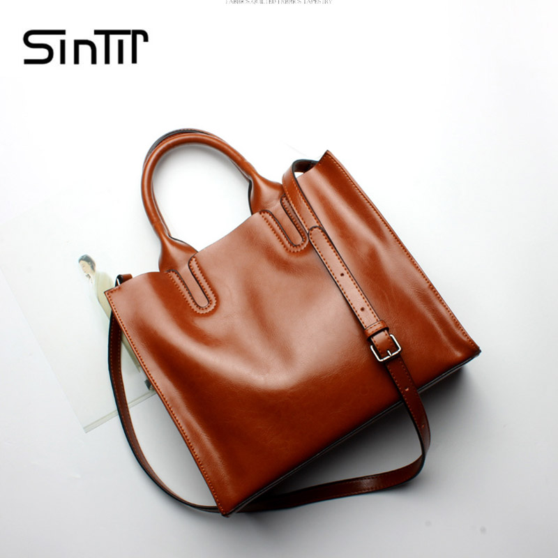 SINTIR Brand Casual 100% Genuine Leather Women Handbag Large Capacity Real Leather Women Shoulder Bags Fashion Messenger Bag 2017 luxury brand women handbag oil wax leather vintage casual tote large capacity shoulder bag big ladies messenger bag bolsa