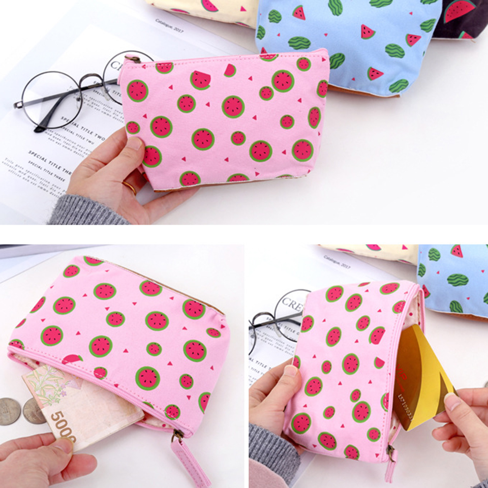 Oswego Canvas Coin Purse Summer Watermelon Printsing Zippers Portable Women Wallets Storage Bags Lovely Small Card Bags