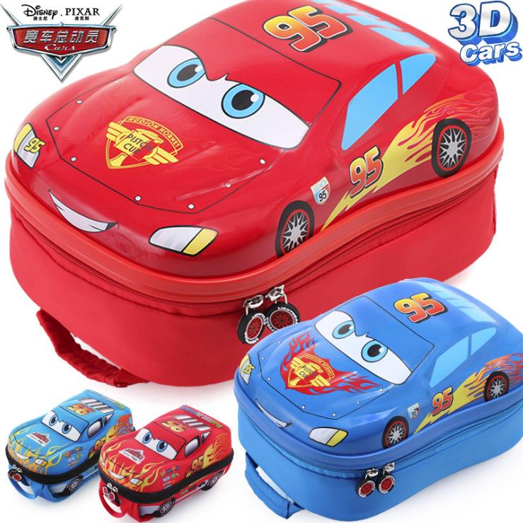 Disney Car Mobilization Lightning McQueen 3D Cars Backpack Kindergarten Schoolbag Car Toy Bags Children's Travel Plush Backpack