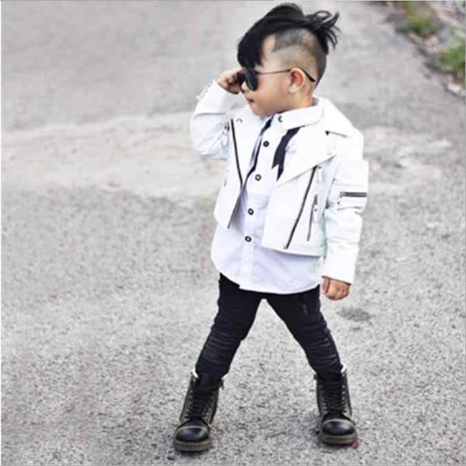 Модные Куртки из искусственной кожи в Корейском стиле для маленьких девочек и мальчиков, Детские повседневные пальто с длинными рукавами, верхняя одежда топы для малышей ws432