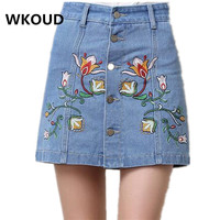 WKOUD Two Pieces In One Denim Skirt Women Floral Embroidery Breasted Mini Skirts Jeans Shorts For
