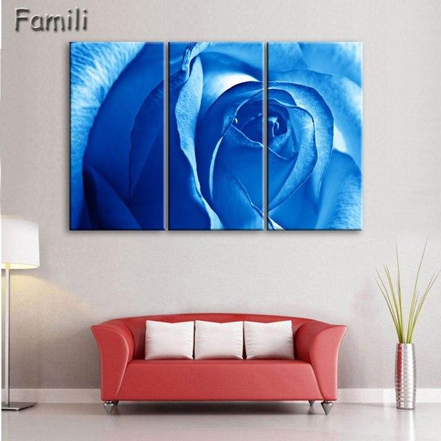 Aliexpress.com : Buy Hot Sale 3 Piece Wall Art Blue Rose Canvas ...