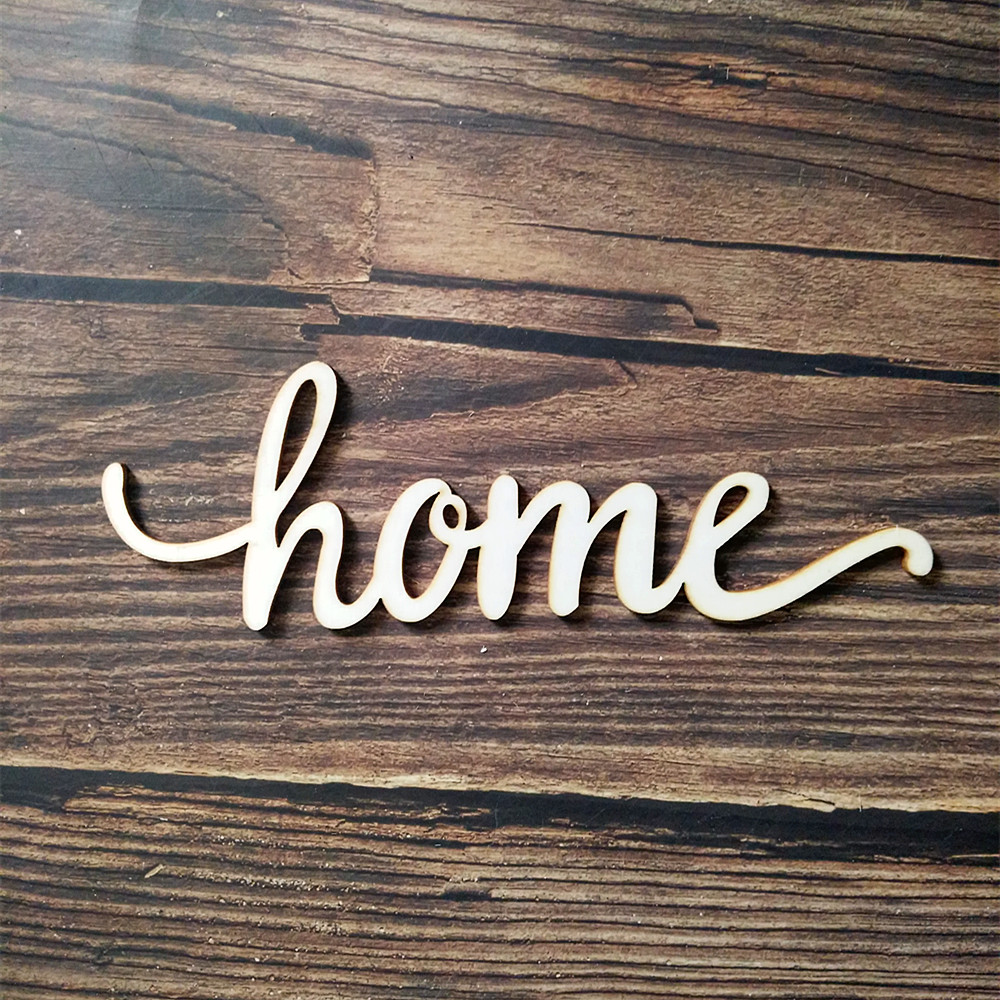 Home Script Word Wood Sign Art Wall Decor Family