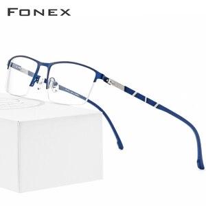 Image 1 - Legierung Gläser Rahmen Männer Ultraleicht Halben Platz Myopie Brillen 2019 Heißer Silikon Optische Rahmen Schraubenlose Brillen