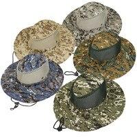 Ao ar livre camuflagem balde chapéu pescador chapéu de acampamento sol chapéu dobrável lazer viseira respirável equitação montanhismo boné