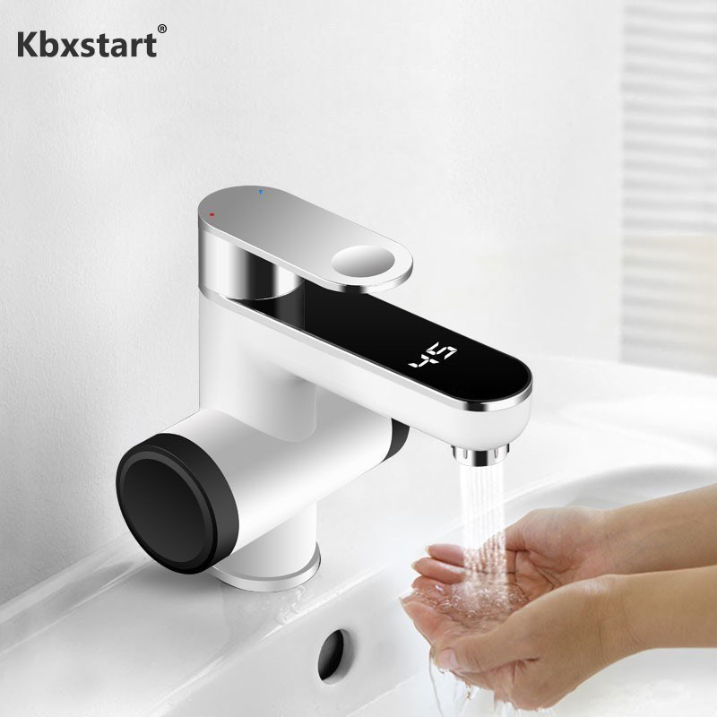 Kbxstart Calentador De Agua Electrico 220V Mini Water Heater Faucet Electric Cold Hot Water Tap Choose Leakage Protector EU Plug