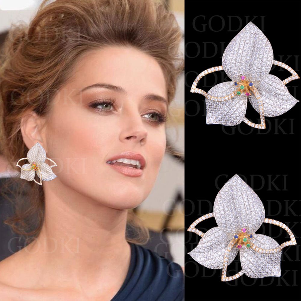 GODKI Elegant Leaf Flowers Multicolor Cubic Zirconia Pave Women Engagment Night Out Party Anniversary Dress Up EarringGODKI Elegant Leaf Flowers Multicolor Cubic Zirconia Pave Women Engagment Night Out Party Anniversary Dress Up Earring