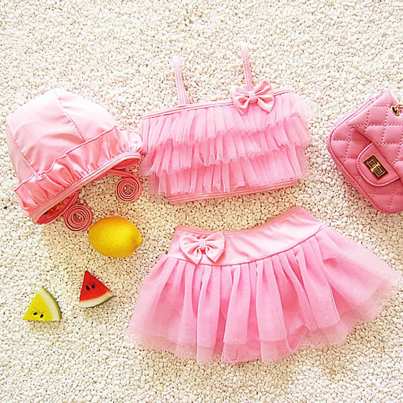 Mesh Skirt Objective Two-piece Lovely Girl Swimwear Bow Sling Top Vest Hat Swimsuit For 1-9y Children Baby Toddler Performance Costume