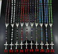 NEW Silver Plated Catholic Virgin Mary Rosary Crucifix Cross Pendant  6mm*8mm Colorful Crystal Beads for mens&women Daylife