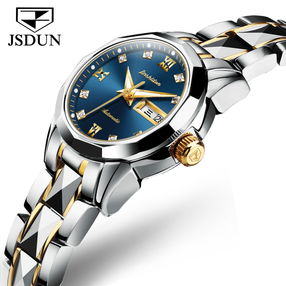 JSDUN Top Brand Luxury Women <font><b>Watches</b></font> Blue Dial Stainless steel Strap <font><b>Mechanical</b></font> <font><b>Watch</b></font> Sapphire <font><b>Waterproof</b></font> Fashion <font><b>Watch</b></font> reloj image