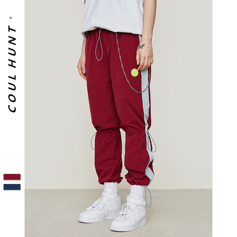 2019 SS Skateboard Ankle Drawstring Pants Streetwear Side Stripe Cargo Sweatpants Thin Windproof Elastic Waist Mens Trousers