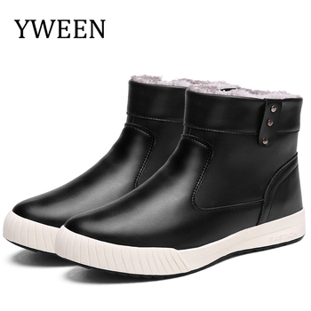 YWEEN Classic Men's Winter Boots Waterproof Ankle Rain boots Male Warm Fur Plush Insole High Quality Botas Mujer