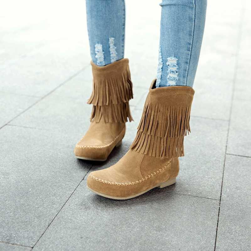 REAVE KEDI Kadın ayakkabı botları moda Kar Botas Püskül Yüksek Kaliteli bayan ayakkabı kaymaz yarım çizmeler Mujer A1126