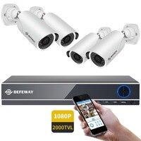 DEFEWAY комплект видеонаблюдения 1080 P HDMI DVR 2000TVL система безопасности HD наружная домашняя система видеонаблюдения 4CH AHD 4 камеры комплект