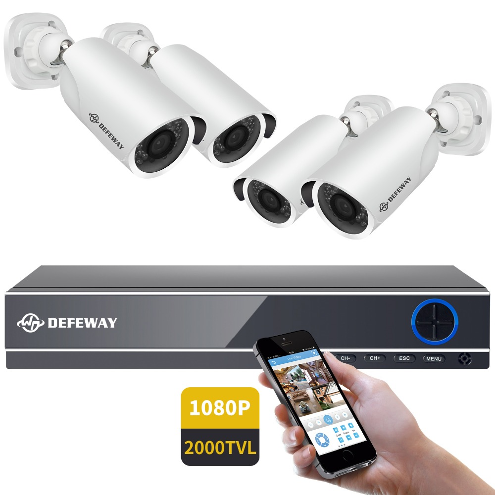 DEFEWAY Kit de Vigilância de Vídeo Ao Ar Livre 1080 P DVR AHD HD Sistema de Câmera de Segurança Em Casa Sistema de CFTV 4CH 2000TVL 4 Ao Ar Livre conjunto câmera