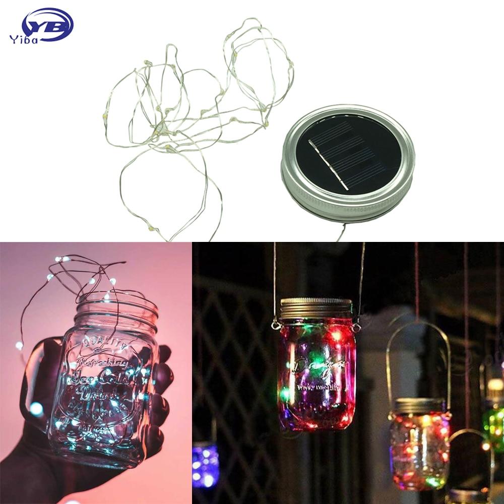 Wholesale LED Fairy Light Solar Powered For Mason Jar Lid Insert Garden Decor Outdoor Solar Led String 1M 2M Warm White White