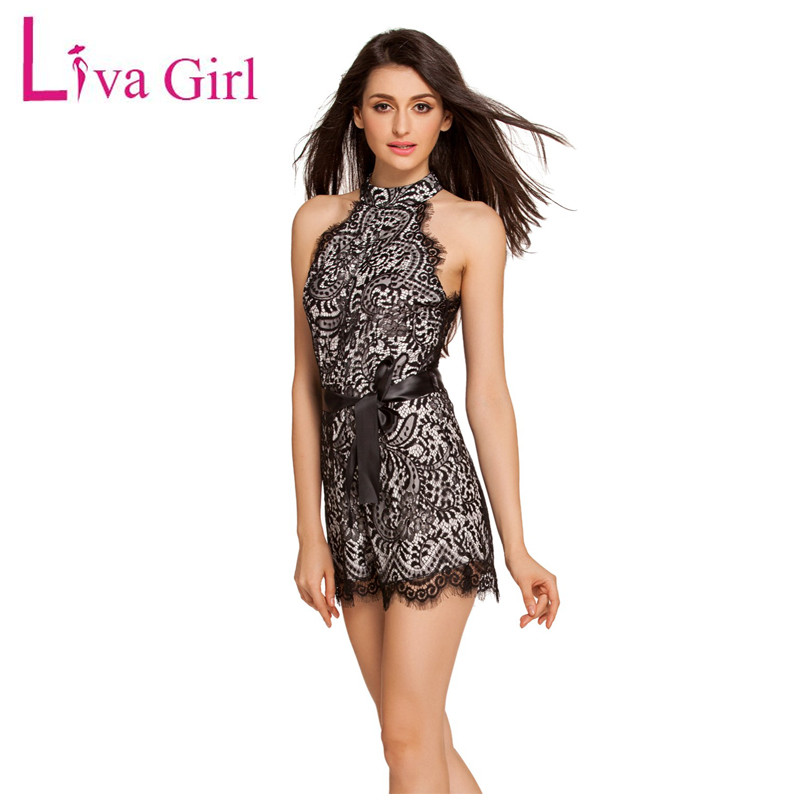 Liva Girl Summer Floral Lace Jumpsuit Off Shoulder Sexy White