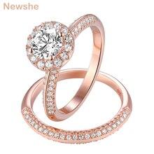 Newshe 2 uds anillos de boda de oro rosa para mujeres 925 Plata de Ley corte redondo AAA CZ conjunto de anillos de compromiso