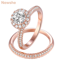 Newshe 2Pcs Rose Gold Wedding Rings For Women 925 Sterling Silver Round Cut AAA CZ Engagement Ring Set